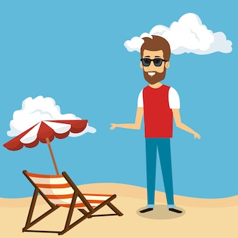 Man in the beach character
