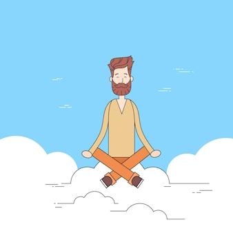Man beard sitting on cloud mediation yoga lotus pose hipster