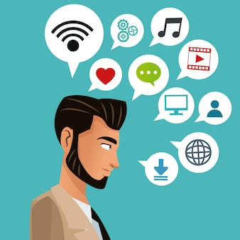 Man bearded business with social media icons