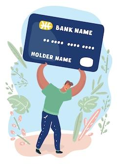 Man bearing credit card