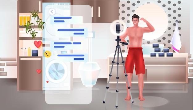 Man beauty blogger recording online video with camera on tripod blogging concept bathroom interior full length horizontal vector illustration