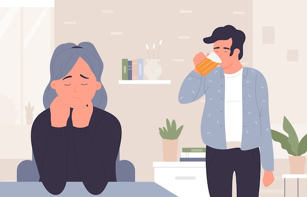 Man in beer addiction, sad woman wife stressed by husband domestic alcoholism