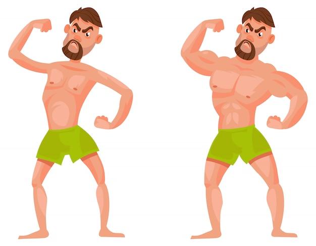 Мужчина до и после похода в спортзал. мужской персонаж, показывающий мышцы.