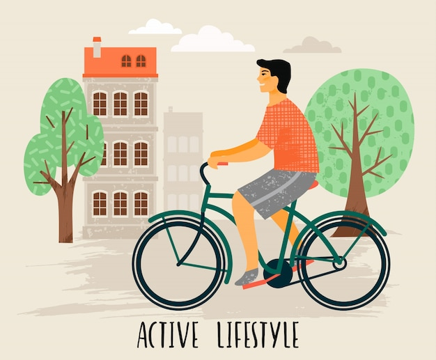 Man on a bicycle. healthy lifestyle.