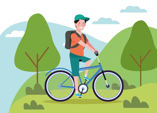 Man in bicycle on the landscape healthy lifestyle  illustration