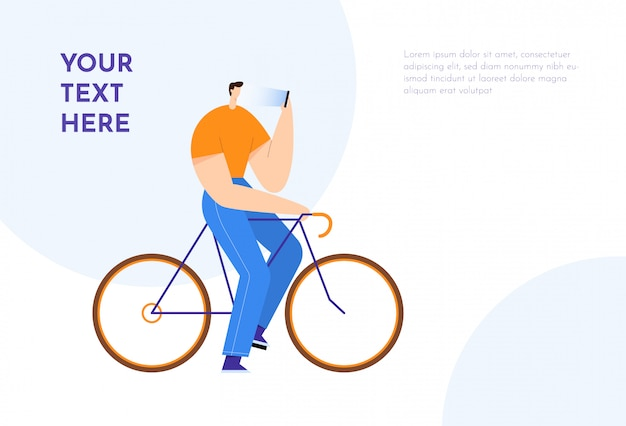 Man on bicycle looking at smartphone. male cartoon character, communication in social networks. text background. flat