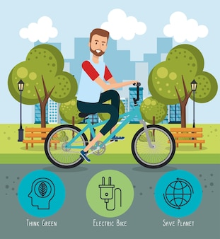 Man in bicycle with eco friendly icons