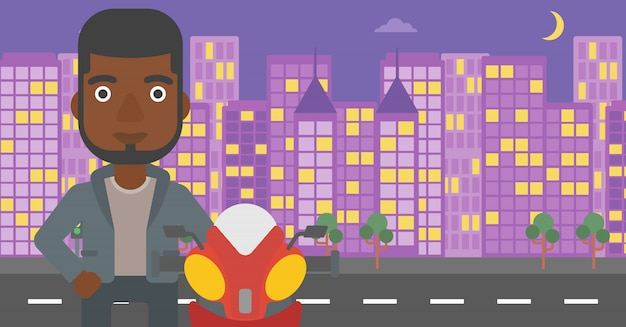 Man in biker helmet vector illustration.