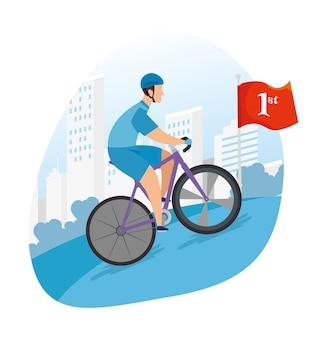 우승 경주에서 자전거 타는 사람
