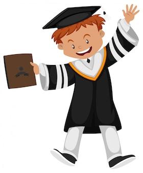 Man in black graduation gown