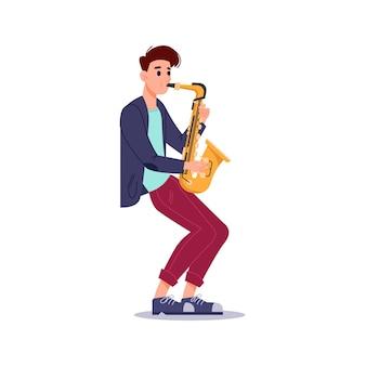 Человек дует в саксофоне изолировал музыкальный проигрыватель