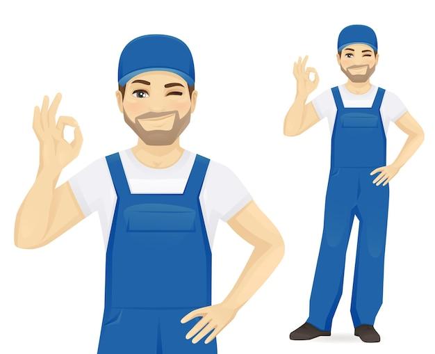 Man in blue overalls gesturing ok sign vector illustration