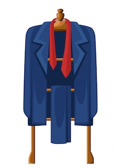 Man blue suit with red tie on wooden hanger  illustration  on white background