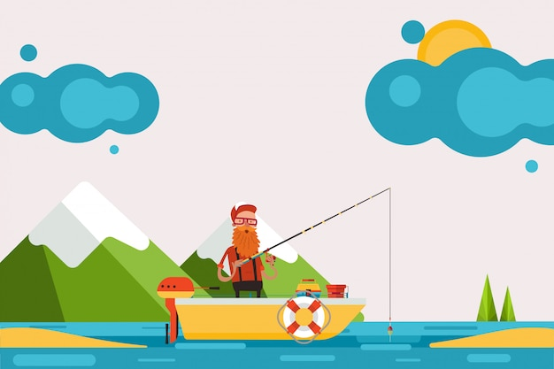 Man on boat with motor engaged in fishing,  illustration. character in picturesque place hold fishing rod and catch fish