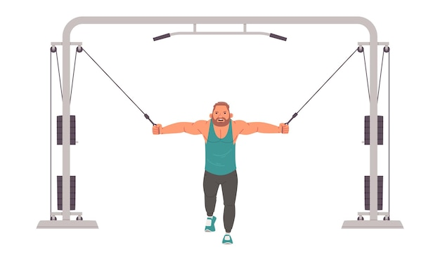 Man bodybuilder trains on a crossover training apparatus. strength training in the gym. vector illustration in flat style