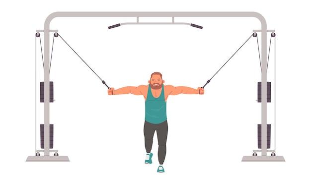Культурист мужчина тренируется на кроссовере. силовые тренировки в тренажерном зале. векторная иллюстрация в плоском стиле