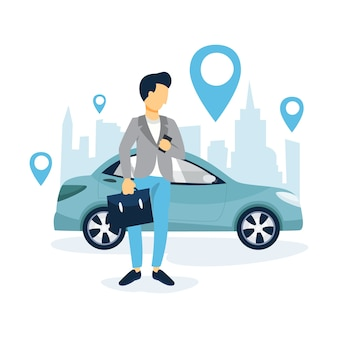 Man book a taxi by a app on the mobile phone. transportation service online. travel concept.    illustration