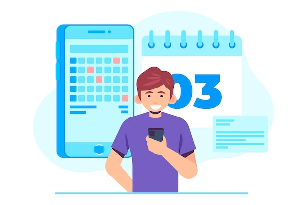 Man booking an appointment on smartphone illustrated