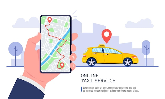Man booking a car on smartphone with map. taxi app on the screen. taxi service concept