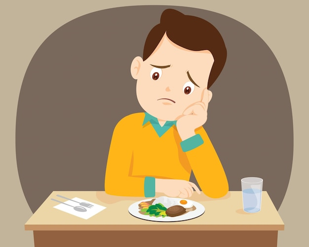 Man bored with food doesn't want to eat
