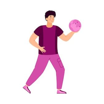 分離されたボールフラットベクトルイラストを投げる準備ができて男ボウリングプレーヤー
