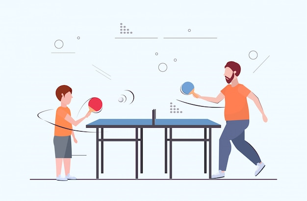 Man and boy holding rackets overweight father and son playing ping pong table tennis weight loss obesity concept flat full length horizontal