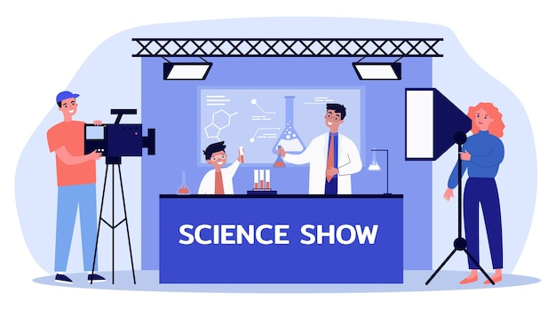 Man and boy shooting science show for children flat illustration