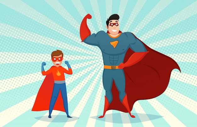 Man and boy superheroes retro illustration
