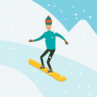 A man, boy, young person snowboarding in the mountains. landscape ski resort background