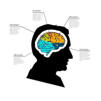 남자 두뇌 잠재력, 흰색에 고립 된 텍스트 장소와 밝은 상세한 infographic