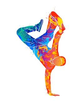 水彩コンセプトで男ブレイクダンス