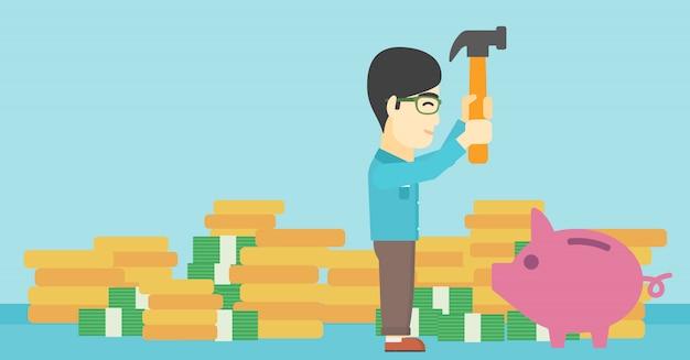 Man breaking piggy bank vector illustration.