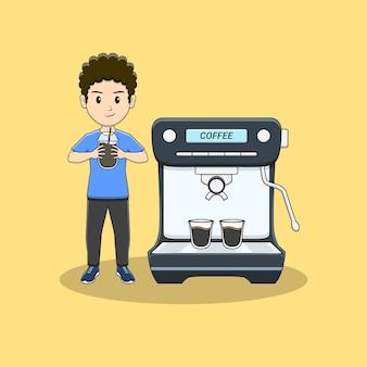 男はコーヒーカップとコーヒーマシンを持ってきます