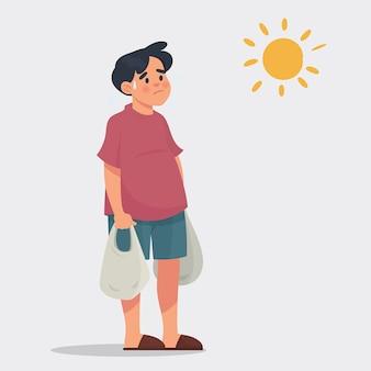 Человек приносит продуктовый мешок в жаркие дни