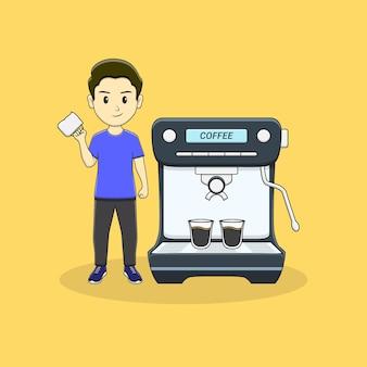 男はマグカップとコーヒーマシンを持ってきます