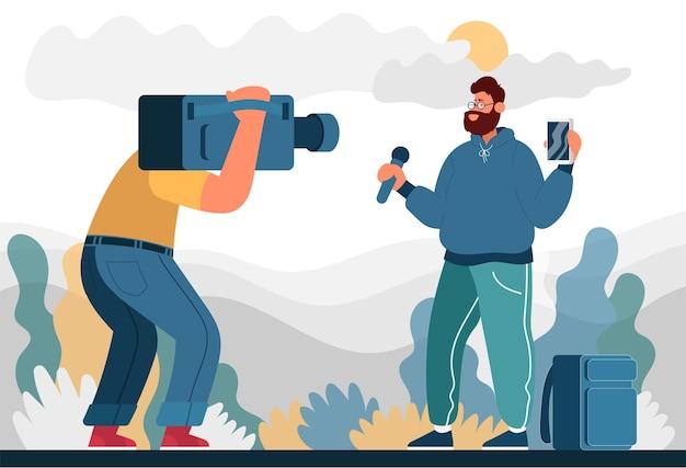 남자는 거리에서 방송하고 카메라에 촬영 블로거에 대한 색상 평면 만화 아이콘 개념