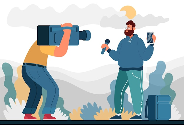 Man broadcasts on the street and filmed on camera color flat cartoon icon concept for blogger