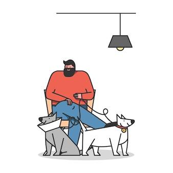 男は診断のために犬を連れてきて獣医に治療しました