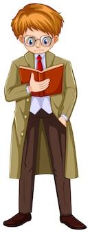 Man in brown overcoat reading book