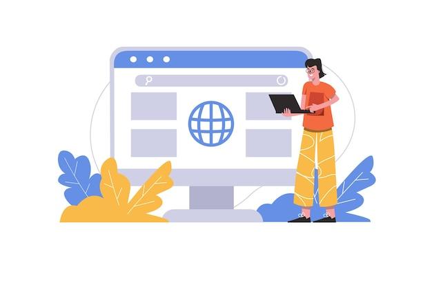 노트북을 사용하여 뉴스를 검색하는 남자. 사용자는 검색 페이지에서 브라우저 인터페이스와 상호 작용하고 사람 장면이 격리됩니다. 온라인 통신, 인터넷 서핑 개념입니다. 평면 최소한의 디자인의 벡터 일러스트 레이 션