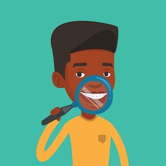 Man brushing his teeth vector illustration.
