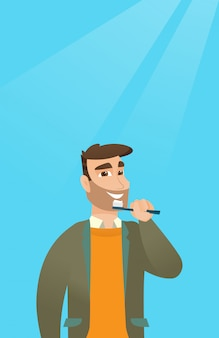 Man brushing teeth vector illustration.
