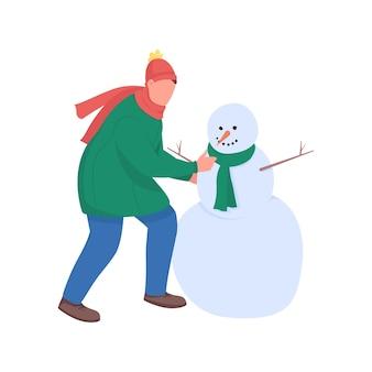男は雪だるまフラットカラー顔のないキャラクターを構築します。男は雪で遊ぶ。クリスマスの時期。 webグラフィックデザインとアニメーションのお祝いの季節の活動の孤立した漫画イラスト