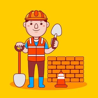 Профессия строителя человек в плоском мультяшном стиле
