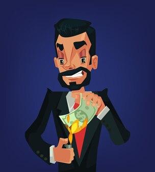 Man burning money. wealthy businessman. money in fire. man millionaire.