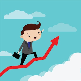 Man business happiness to grow up arrow graph, vector cartoon
