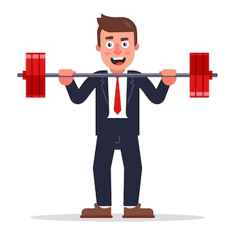 A man in a business suit raises a barbell. flat character illustration.