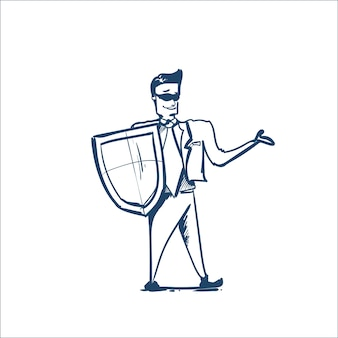 Man in business suit shield protecting computer