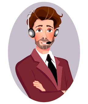 Man in business suit with headset.