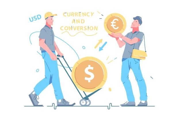 通貨換算プロセスのベクトル図で忙しい男。通貨フラットスタイルのシンボルとコイン。外貨両替、会話、お金、ビジネスコンセプト。白い背景で隔離